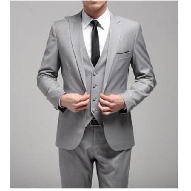 Custom Made One Button Slim Fit Light Grey Groom Tuxedos Side Slit Groomsmen Men Wedding Dinner Suit (jacket+pants+vest) Gg44