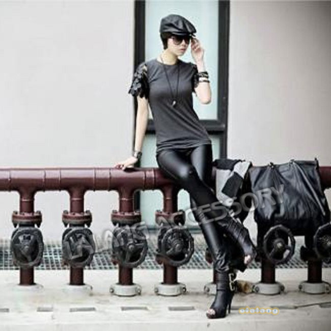 Fashion Sexy Faux Leather Boots Pants Skinny Patchwork Legging ...