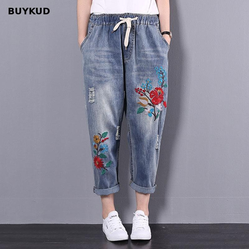 BUYKUD High Waist Ripped Jeans Women 2018 Summer Casual Embroidery Floral Elastic Long Trousers Female Denim Pants Plus Size
