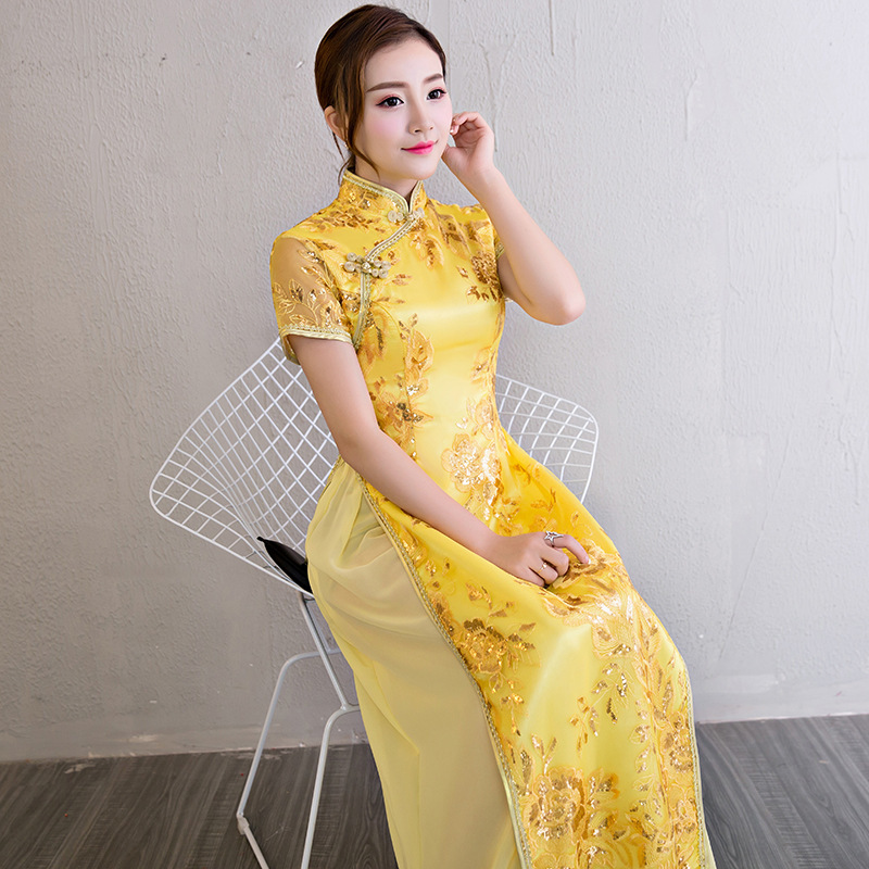 Aodai Cheongsam Vietnam Dress Traditional Chinese Clothes For Woman Embroidered Yellow Dresses Evening Long Lace Qipao