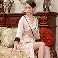 Hot Sexy Шелковый Халат Женщины Лето Ремень Платье + Халат Сексуальность Пижамы Шелковый Атлас Одеяния Плюс Размер XXL Ночная рубашка