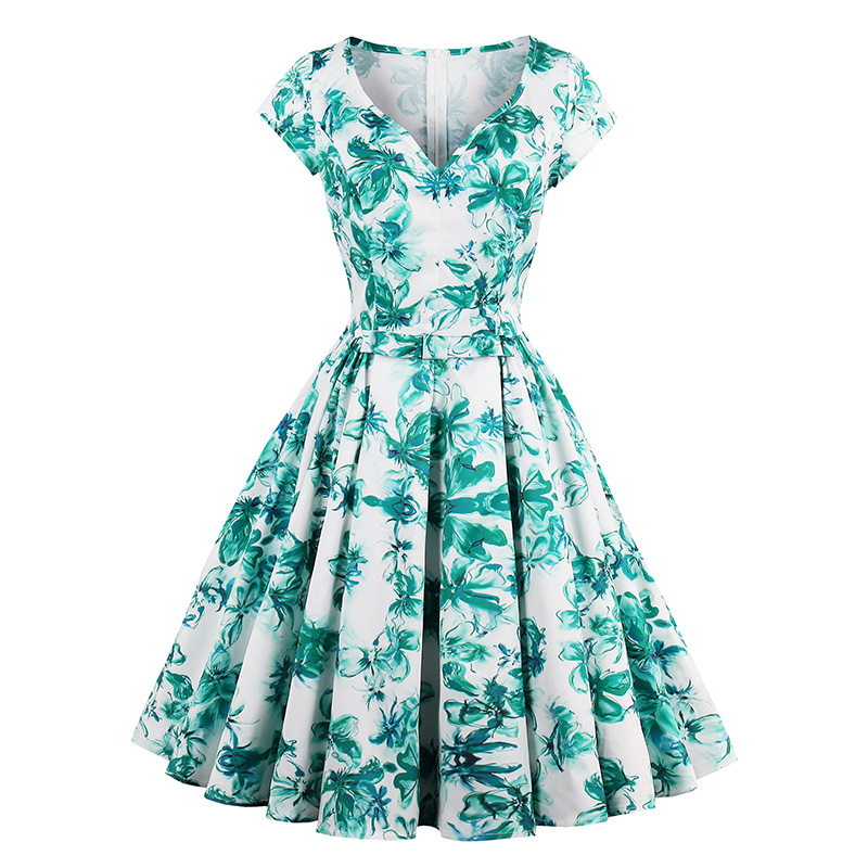 Sisjuly Women Dress 1950s Floral Print Party Elegant Retro Daily Sexy Summer A Line Rockabilly Casual Vintage Dress For Girl