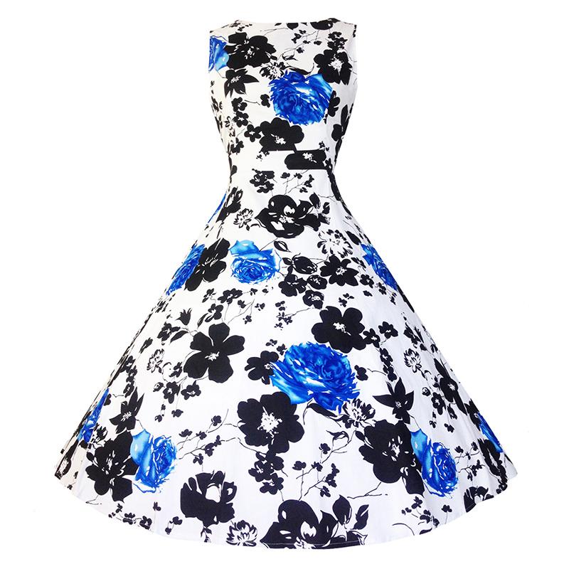 Kostlish Cotton Summer Dress Women 2017 Sleeveless Tunic 50s Vintage Dress Belt Elegant Print Rockabilly Party Dresses Sundress (87)
