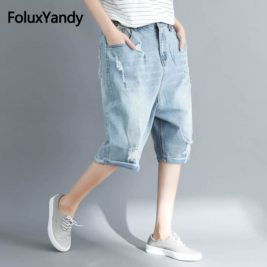 Knee Length   Jeans   Women Summer Capris Casual Loose Hole Ripped Denim Harem Pants Plus Size 3XL 4XL NQYL44oil