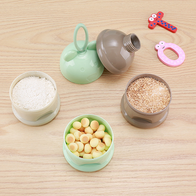 3 Layer Rushed Baby Food Containers Doseur Lait Breast Milk Storage Bag Fruit Cartoon Infant Milk Powder Box Snack Bear
