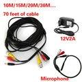 De seguridad CCTV De Alimentación De Alto Micrófono Sensible con 12V2A fuente de Alimentación de 20 m de Cable