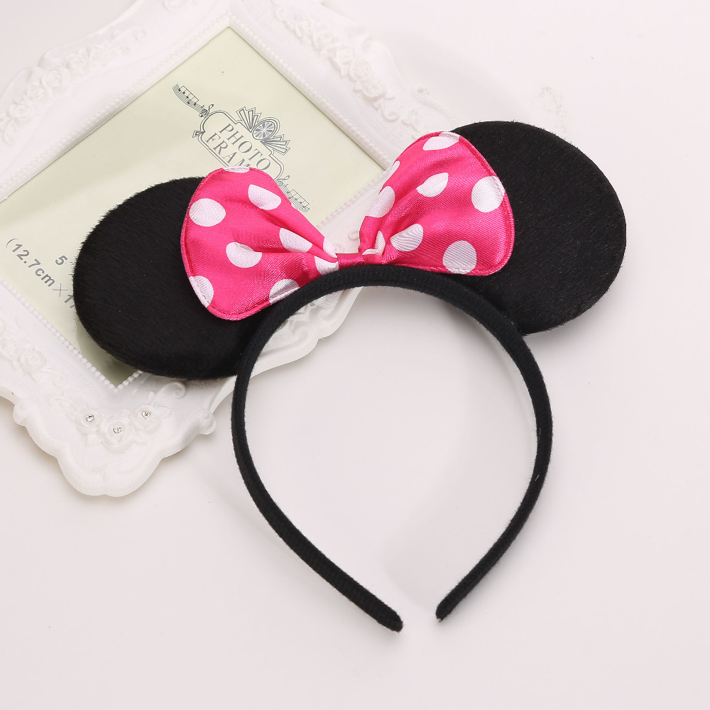 12 Minnie Mouse Ears Headbands Red Polka Dot Bows Party Favors Birthday Mickey