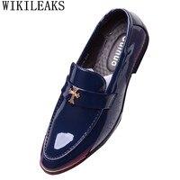 남성 신발 뾰족한 발가락 드레스 신발 남성 로퍼 특허