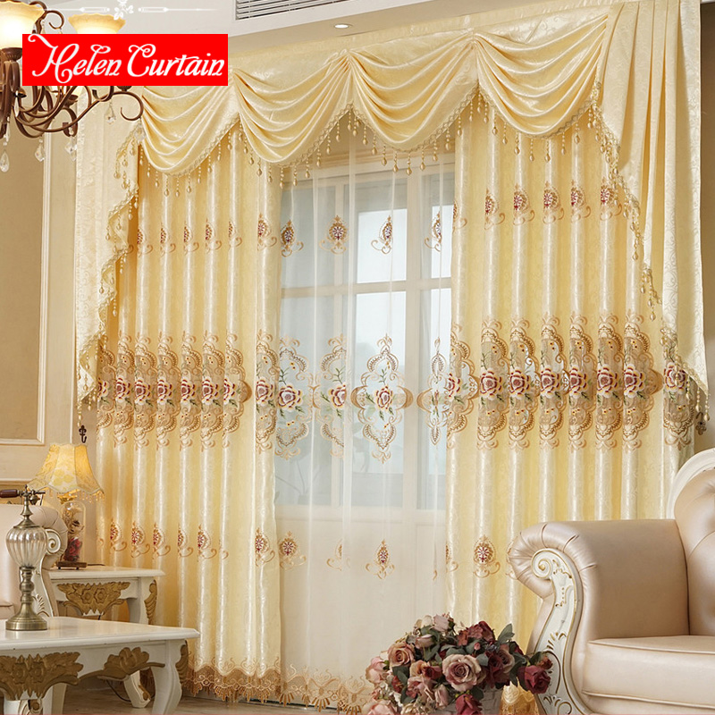 Helen Curtain Set Luxury Embroidered Gold Yellow Curtain