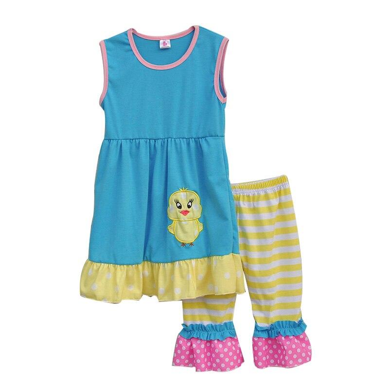 2017 Girls Spring Clothes Sleeves Design Contrast Color Hem Lovely Duck Sticker Chiffon Leg Openning Kids Clothing Set E009