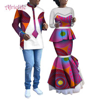 2019 Lovers Matching Couples African CoupleClothing Valentine's DayWomen's Short Sleeve Women's Skirt Set and Men's Shirt WYQ225