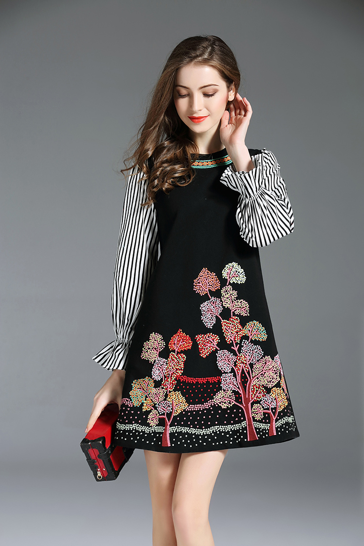 Striped Floral Embroidery Long Sleeves Shirt Gothic Dress