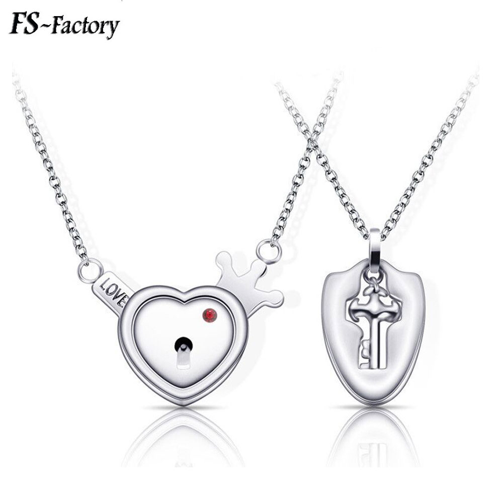 A Set Couple Jewelry Cupid Love Heart Lock Crown Bracelet Stainless Steel Key Pendant for Women Men Choker Jewelry Gift