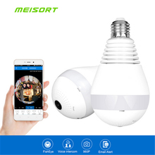 960P 360 degree Wireless IP Camera Wi fi Bulb Light Fisheye Smart Home CCTV VR Camera