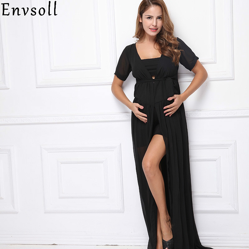 Envsoll Pregnancy Dresses for Pregnant Women Maternity Photography Props Sexy Chiffon Wedding Maxi Dress Gowns for Photo Shoot sexy pregnant dresses black chiffon maternity dresses for photo shoot maternity photography props