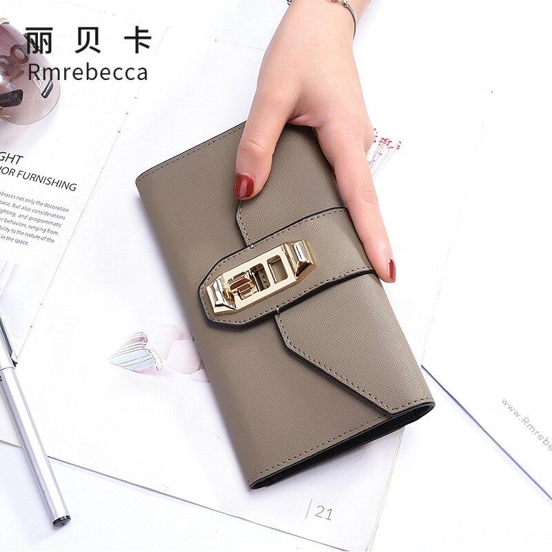 RMREBECCA nouveau portefeuille en cuir fermeture à glissière pochette couche supérieure en cuir long portefeuille mode dames portefeuille en cuir véritable pince à billets
