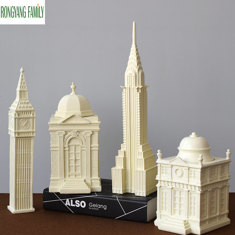 Européen Vintage repère bâtiment Miniature décoration de la maison londres grand Ben modèle Figurines résine ornements accessoires artisanat