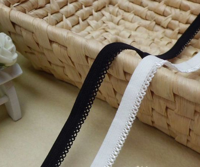 elastic webbing lace 1cm width underwear lace black or white DIY material for clothing sewing 30meters lot