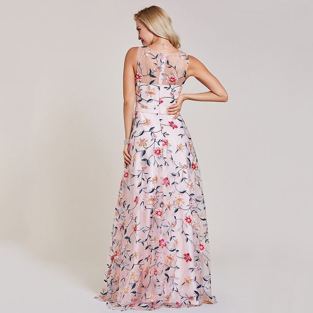 Dressv pink evening dress cheap scoop neck a line embroidery lace floor length wedding party formal dress evening dresses 2