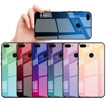 Capa inteligente huawei p, capa de vidro temperado gradiente para huawei p smart psmart 2018 FIG-LX1 FIG-LX2 FIG-LX3, protetor de 5.65 polegadas capa com estojo