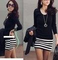 2014 women's new Korean ladies large size fashion Slim stripe dress free shipping