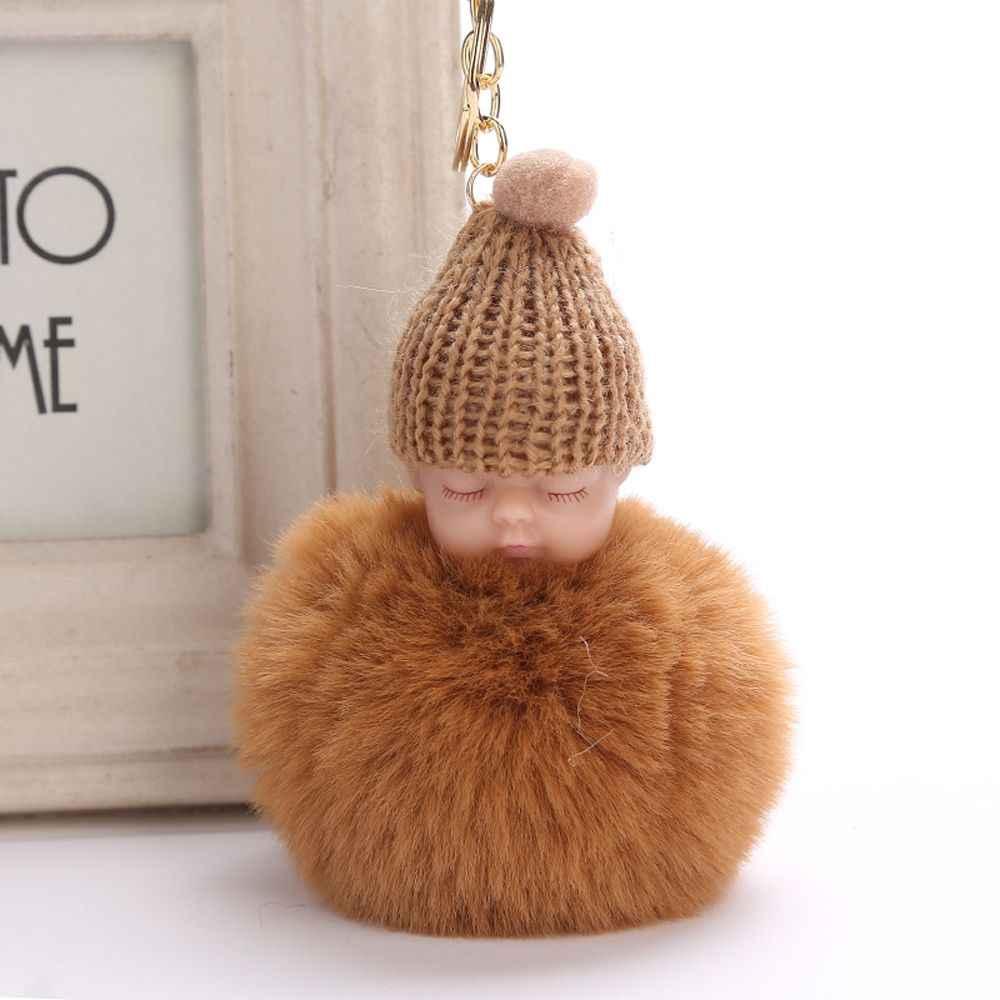 1 шт. милая сумка интимные аксессуары пушистый спальный детская плюшевая кукла вязаная шапка сумки искусственный мех кролика для женщин сумки кулон кольц