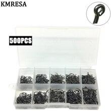 Conjunto de anzuelos de pesca de tamaño variado, caja Original de anzuelo de pesca de carpa de acero al carbono n. ° 3 ~ 12, 500 unidades