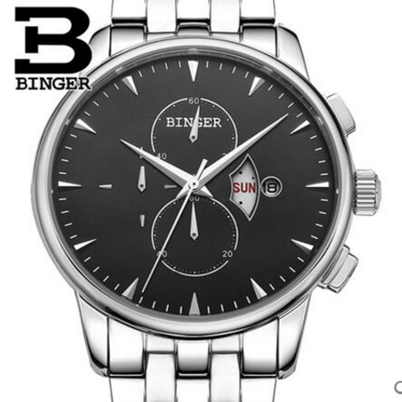 Genuine Luxury BINGER Brand Mens leather strap business fashion stainless steel sapphire watch male table waterproof calendarGenuine Luxury BINGER Brand Mens leather strap business fashion stainless steel sapphire watch male table waterproof calendar