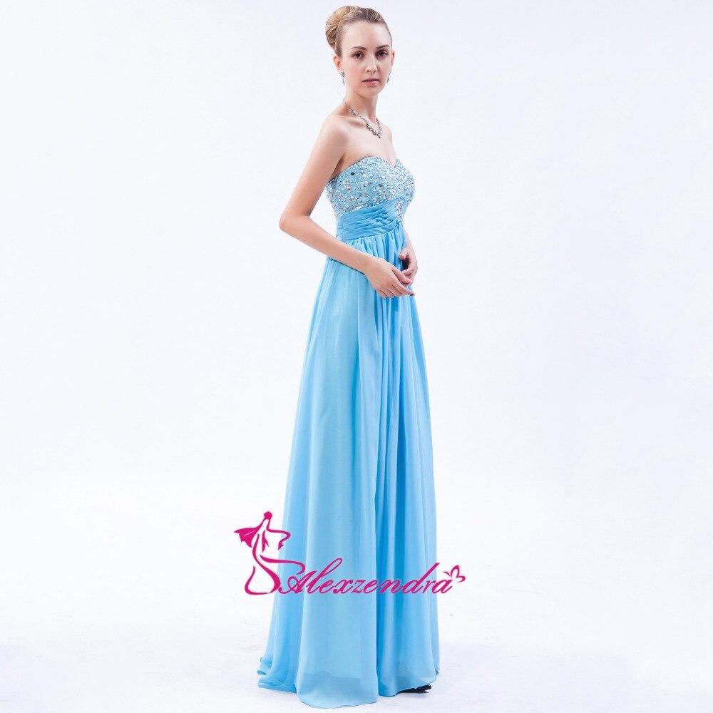 Alexzendra bleu ciel en mousseline de soie longue ligne robes de bal chérie perlée robe de soirée robes de grande taille - 3