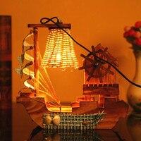Wooden Handicraft Night Light Wood Boat Hight Quality Night Lamp Wood Craft Home Decoration Desk Decor Gift Children Gift