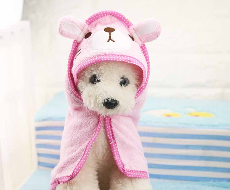 FB58 Sweety Cartoon Pet Dog Bath Towel Funny Dog Blanket Super Absorbent Puppy Dog Cats Bathrobe Suit for Yorkie