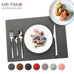 Image 2 - ME.FAM napperon en cuir et Silicone, set de Table Simple, Texture Anti chaleur, Pad de vaisselle, imperméable à leau et résistant à lhuile, tapis de Table de Table