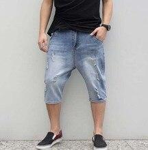 2017 мода нового прибытия летние большие промежность Мужчины hole короткие джинсы мужские капри плюс размер свободные упругие колен джинсы шорты