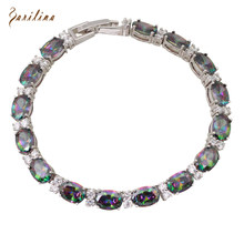 Fashion for lady Bracelets & bangles for women Rainbow Mystic Cubic Zirconia Silver fashion jewelry 19.5cm 7.68 inch B019(China)