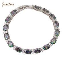 Fashion for lady 2016 New Bracelets & bangles for women Rainbow Mystic Topaz Silver fashion jewelry 19.5cm 7.68 inch B019