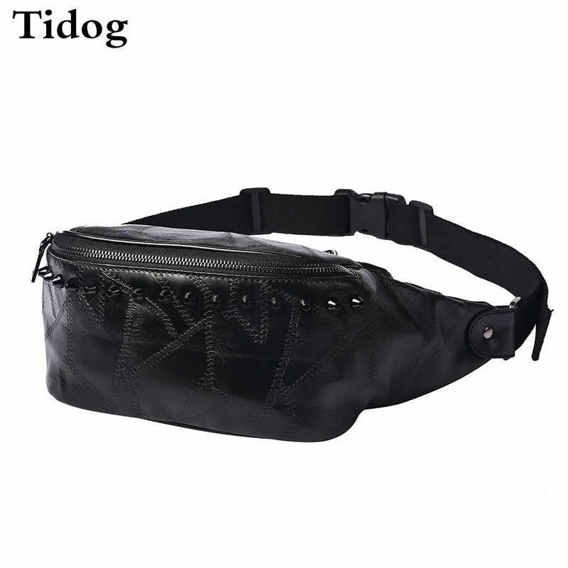 Tidog Korea tas kulit jahitan keling kecil tas dada laki-laki