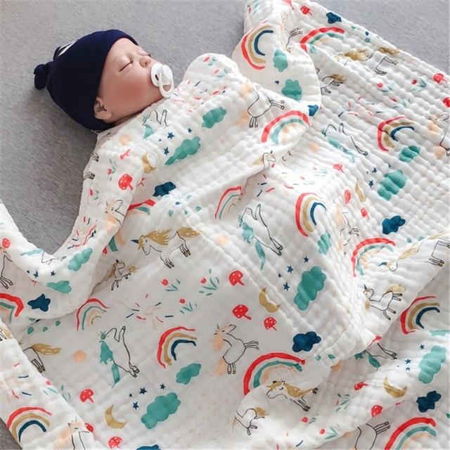 Envoltório musselina Bebê Recém-nascido Fotografia Cobertor Do Bebê Swaddle Envoltório Cobertor Do Bebê Mantas De Unicórnio Bebes Meninas Capa Carrinho de Mat