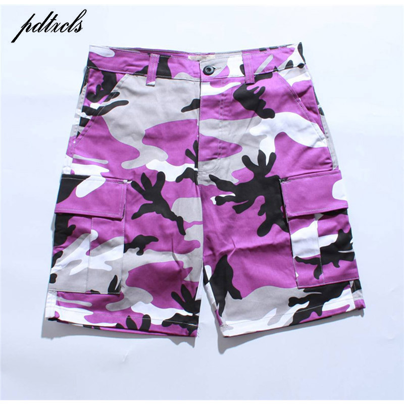 39b16b1cee 2018 HOT Tri Color Camo Patchwork Cargo Shorts Men's Hip Hop Casual  Camouflage Trousers Fashion Streetwear