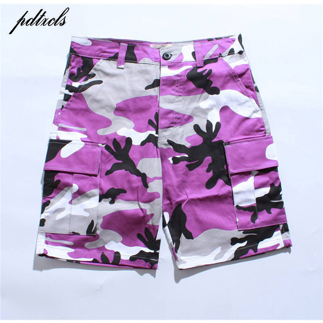 8aeb47cefb 2018 HOT Tri Color Camo Patchwork Cargo Shorts Men's Hip Hop Casual  Camouflage Trousers Fashion Streetwear