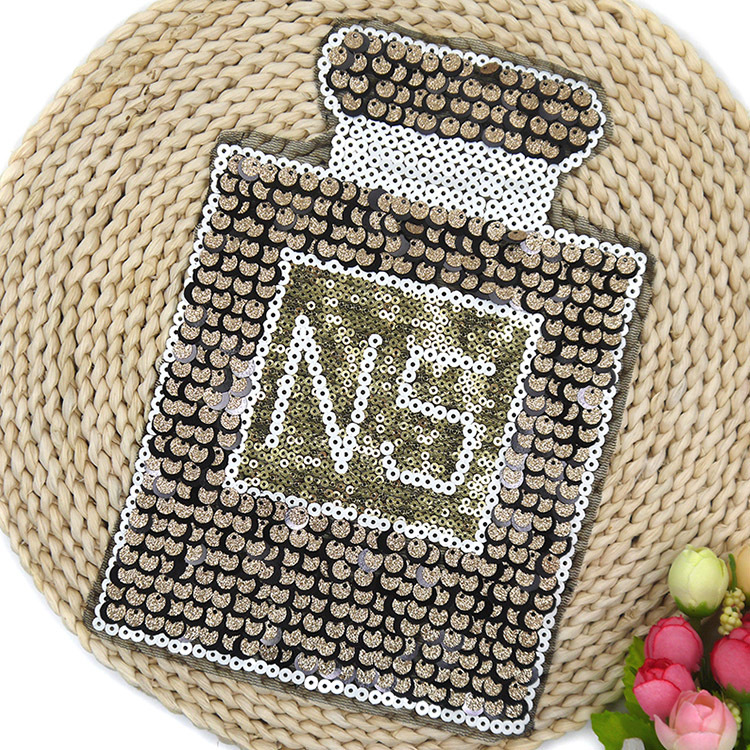 Pearl Embroidery Patch Garment Accessories DIY Decorative Accessories T-shirt Sweater Sequins Patterned Decals Perfume Bottle