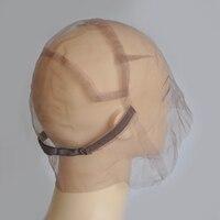 Brown/Beige Toàn Swiss Ren Tóc Giả Dễ Dàng Hơn Cap Để Làm Tóc Giả Với Dây Đai Điều Chỉnh Tùy Biến Tóc Giả Kích Thước S/M/L