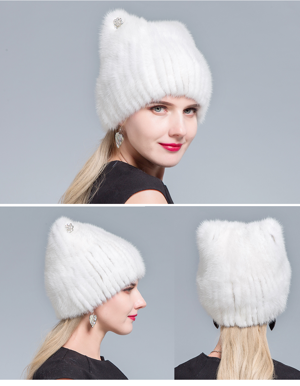 Middle aged women in the winter: mink fur women's knitted sweater hat new fashion European and American cat style ski caps 18