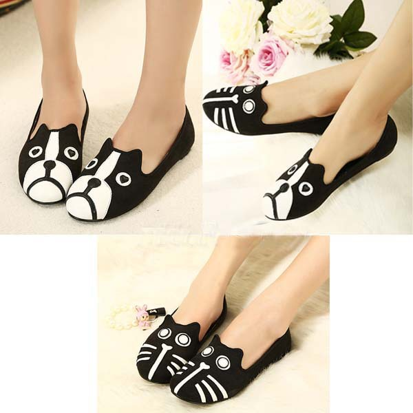 8a6eed70d68e Vogue Cute Cat Dog Face Womens Shoes Loafers Ballerina Low Heel Comfort  Flats-in Women s Flats from Shoes on Aliexpress.com