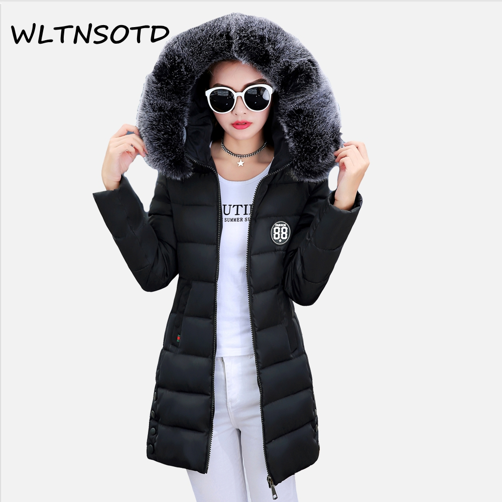 2017 winter new cotton coat women long Fur collar Hooded  jacket Female fashion Slim badge button Solid Parkas 2017 new women winter cotton coat long slim hooded badge pattern warm jacket female fashion solid parkas