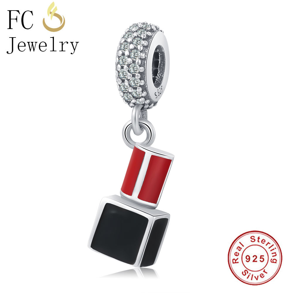 FC Jewelry 100% 925 Sterling Silver Red Lipstick Bead Pendant Fit Original Pandora Charm Bracelet Necklaces For Women DIY Gift