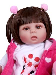 Image 5 - New Full body soft silcone waterproof 48CM newborn bebe doll reborn doll baby girl in pink dress realistic baby Bath toy