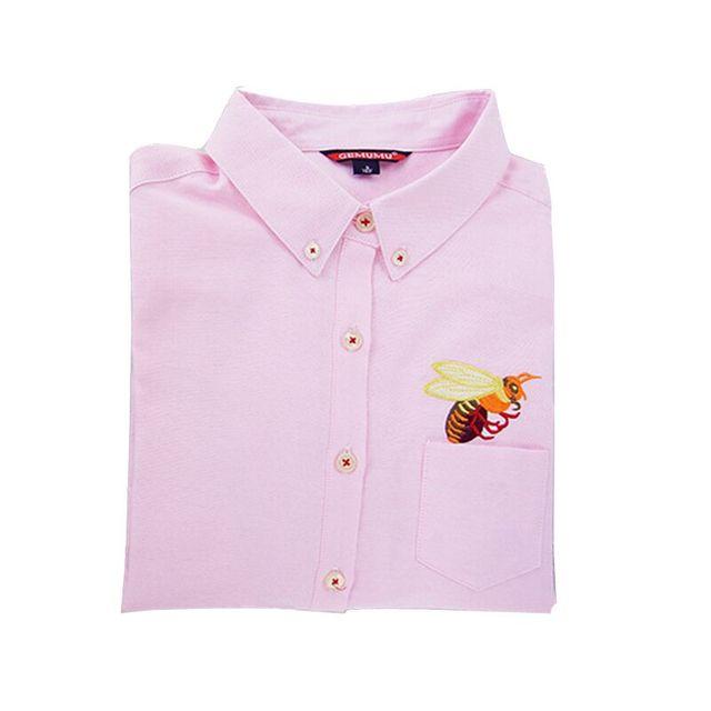 Осенью 2016 Топ Женской Одежды Осень Женщины Блузка Кошка Пчелы вышивка С Длинным Рукавом Рубашки Работы Офис Топы Белые Рубашки для бизнес