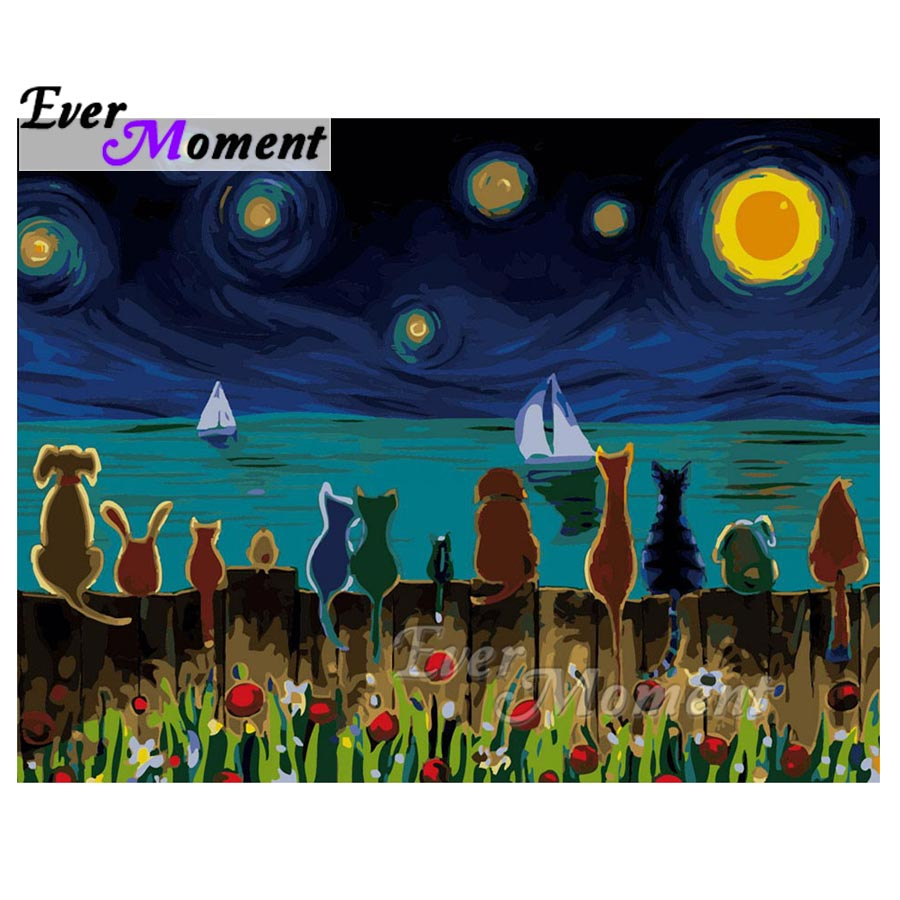 Ever Moment Full Square Drill Diamond Painting Cats Dog Animal Home Decoration Diamond Embroidery Picture Mosaic Handmade S2F014