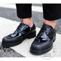 Black Patent Genuine Leather Lace Up Color Block Round Toe Chunky Medium Heels Heeled Dress Party Male Business Shoes For Men