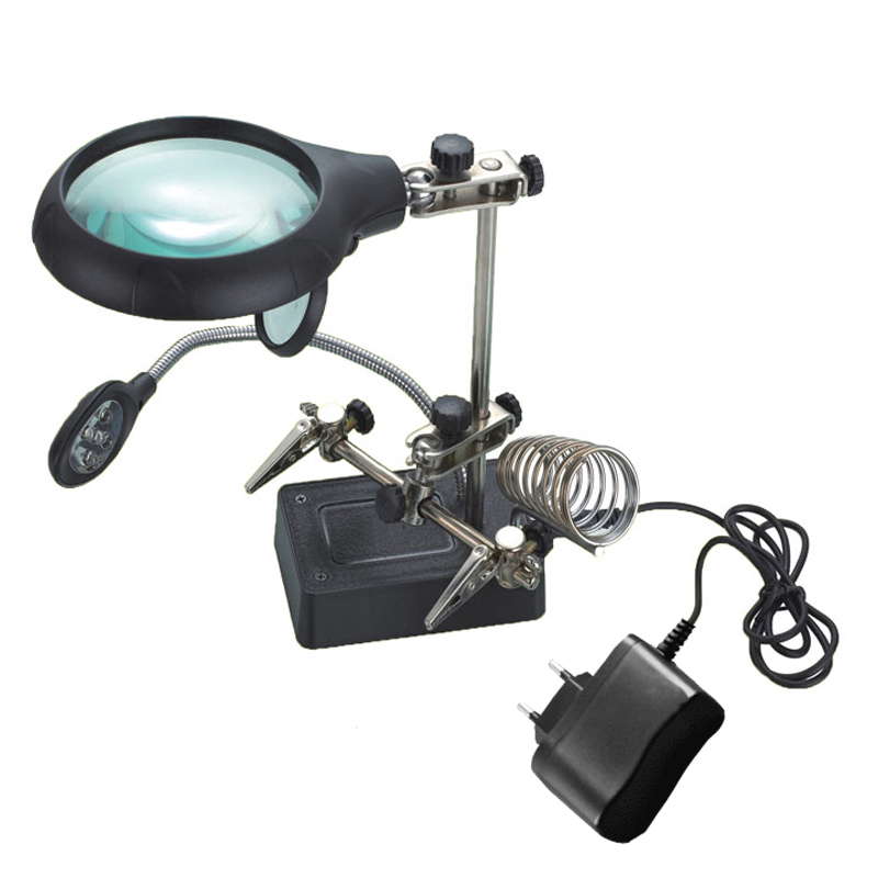 220V 5LED Helping Hand Solder Iron Stand Holder Magnifier Electronic PC Repair 90mm --M25 сумка ggwoo 355